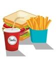 delicious sandwich and soda isolated icon design vector image