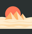 egyptian pyramids landscape red sun vector image vector image
