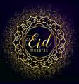 eid mubarak greeting with golden mandala vector image vector image