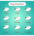 Emotions white dogs on a blue background vector image