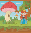 fairytale landscape scene with princess and fairy vector image