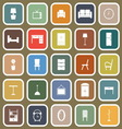 Furniture flat icons on brown background vector image vector image