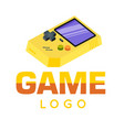gamer logo yellow game boy background image vector image vector image