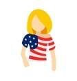 Girl in USA flag colors t-shirt icon