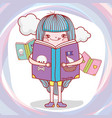 girl read books information with clouds vector image vector image