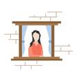 girl watching through window vector image vector image