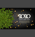 green pine christmas tree branch with confetti vector image vector image