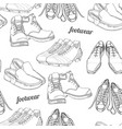 hand drawn seamless pattern men footwear casual vector image vector image