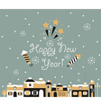 Happy new year Greeting Card winter town vector image