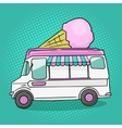 Ice cream van pop art style vector image vector image