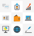 job icons flat style set with growing chart vector image vector image