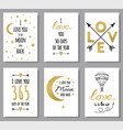 love quotes set gold glitter design elements vector image vector image