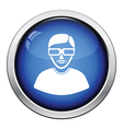 Man with 3d glasses icon vector image vector image