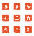 maternal icons set grunge style vector image vector image