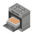 oven icon isometric style vector image vector image