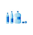 plastic water bottle set isolated vector image vector image