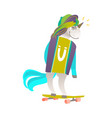 portrait of unicorn character riding a skateboard vector image vector image