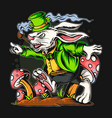 rabbit st patrick39s day running in the vector image vector image