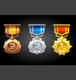 ranked medals are silver bronze and gold for the vector image