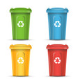 realistic containers for recycling waste sorting vector image vector image
