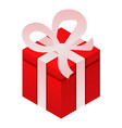red xmas gift box icon isometric style vector image