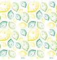 seamless pattern lemons and lime fruits summer vector image vector image