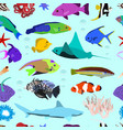 seamless pattern of colorful marine fishes vector image vector image