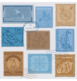 Set of retro sea post stamps vector | Price: 1 Credit (USD $1)