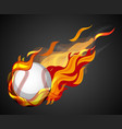shooting baseball with flame on black background vector image vector image