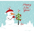 snowman decorates a Christmas tree hearts vector image