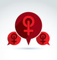 Speech bubble with a red female sign woman gender vector image vector image