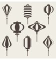 Traditional Chinese lanterns line set in a flat vector image vector image