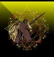 unicorn head mascot logo design vector image vector image