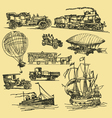 vintage hand drawn transportation vector image vector image