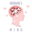 woman mind in paper art style vector image vector image