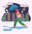 woman walk with umbrella under rain thunderstorm vector image vector image