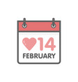 calendar icon 14 february valentines day vector image
