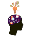 Education concept with head silhouette and light vector image