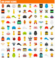 100 sport icon set flat style vector image