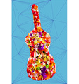 Abstract vivid colorful polygonal guitar shape vector image