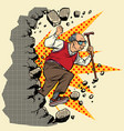 active old man pensioner breaks the wall