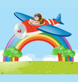 airplane flying in the sky over the park vector image vector image