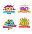 anniversary and greeting birthday isolated icons vector image
