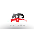 ap a p brush logo letters with red and black vector image vector image