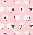 baby sheep girlish cute seamless pattern vector image