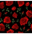 Beautiful seamless pattern with red roses on black vector image vector image