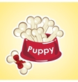bowl set of bones are food for the puppy vector image
