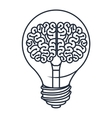 brain inside bulb isolated icon design vector image