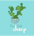 bunny ear cactus card template vector image