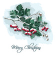 card with hawthorn branch vector image vector image